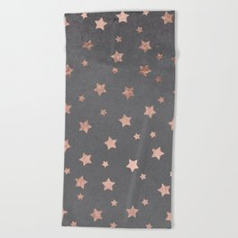 Rose gold Christmas stars geometric pattern grey graphite industrial cement concrete Beach Towel