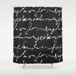 Doodles Letters Black Shower Curtain