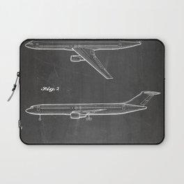 Boeing 777 Airliner Patent - 777 Airplane Art - Black Chalkboard Laptop Sleeve
