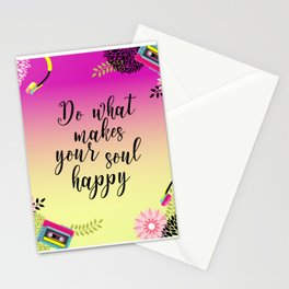 Floral Garden Do What Makes your soul happy Retro Stationery Cards