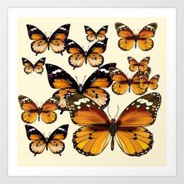 COFFEE & CREAM COLORED BROWN BUTTERFLIES Art Print