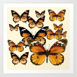 COFFEE & CREAM COLORED BROWN BUTTERFLIES Art Print