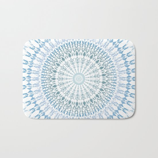 Grayish Blue White Mandala Bath Mat