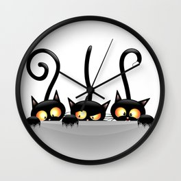 Three Naughty Playful Kitties Wall Clock