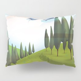 Cartoon Mountain landscape. Pillow Sham