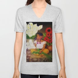 Girl with Calla Lilies and Red Mexican Sunflowers by Diego Rivera Unisex V-Neck
