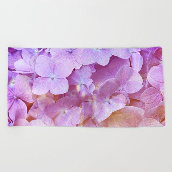 Multicolor beautiful Hydrangea petals - Flowers - Buds - Blossoms Beach Towel