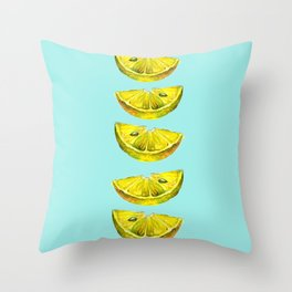 Lemon Slices Turquoise Throw Pillow
