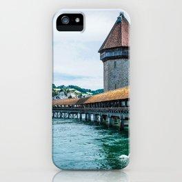 Chapel Bridge (Kapellbrucke) | Lucerne Switzerland Medieval Architecture City Photography iPhone Case