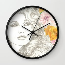 Jolene with Yellow Roses Wall Clock