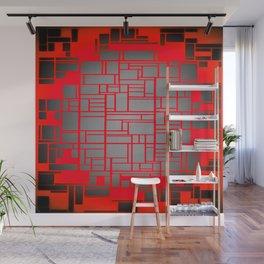 Red & Grey Geometric Design Wall Mural