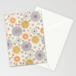 Colourful Flower Medley on Cream Stationery Cards