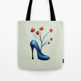 High Heel Shoe With Flowers Surreal Art Tote Bag
