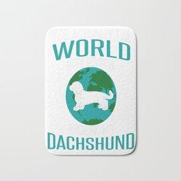 World-Does-Revolve-Around-My-Dachshund Bath Mat