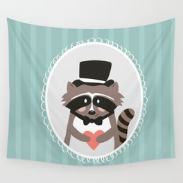 Racoon Heart Robber  Wall Tapestry