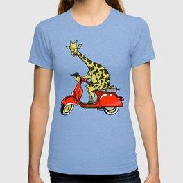 Giraffe riding a moped T-shirt