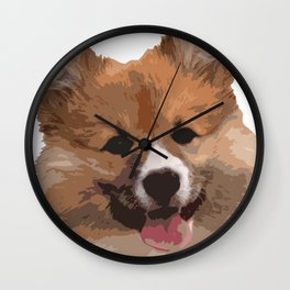 Cute Fluffy Corgi Dog Wall Clock