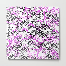 Artistic black pink cute love birds tree branches pattern Metal Print
