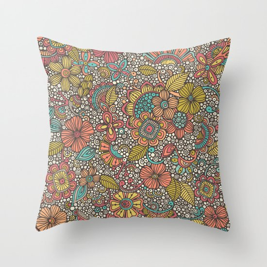 Doodles Garden Throw Pillow