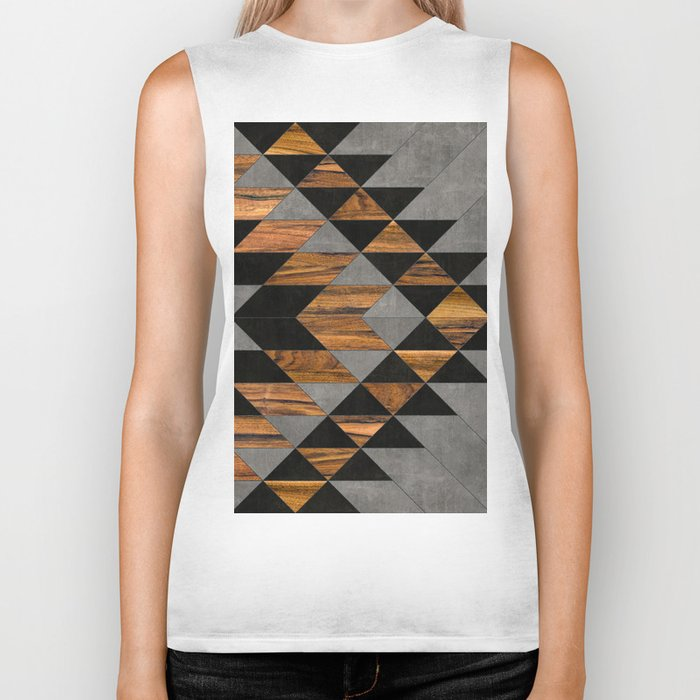 Urban Tribal Pattern No.10 - Aztec - Concrete and Wood Biker Tank