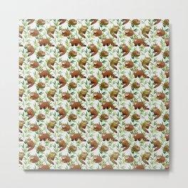 Red Panda Pattern Metal Print