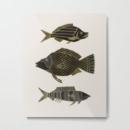 Fantastical Fish 2 - Black and Gold Metal Print