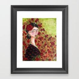 Frida Among Flowers Framed Art Print