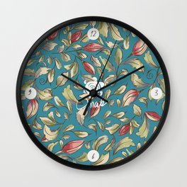 Antique Boho Floral II - Teal Wall Clock