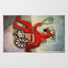 Devil Unicorn in Wheelchair Rug