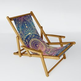 Gold watercolor and nebula mandala Sling Chair