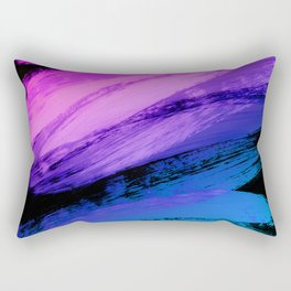 Hot Pink to Sky Blue Abstract Brushstrokes Rectangular Pillow