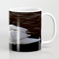 swan Mugs featuring swan by Cindy Munroe Photography