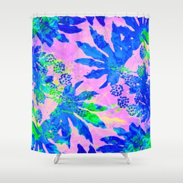 Tropical Adventure - Neon Blue, Pink and Green #tropical #homedecor Shower Curtain