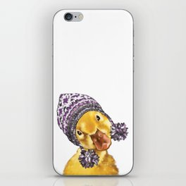 Baby Yellow Duck with Winter Hat iPhone Skin