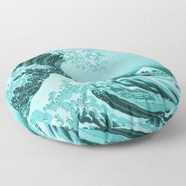 Aqua Blue Japanese Great Wave off Kanagawa by Hokusai Floor Pillow