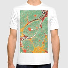 Marbled Green Orange 2A MEDIUM White Mens Fitted Tee