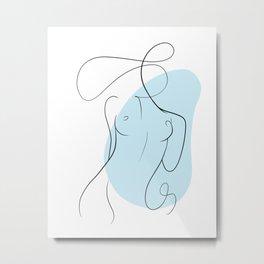 Minimalist Female Body Line Art |Torso  Metal Print