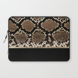 Modern black brown gold snake skin animal print Laptop Sleeve