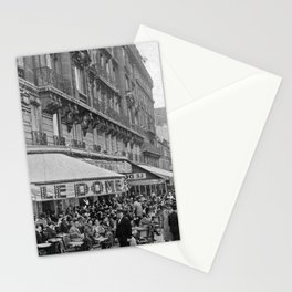 Le Dome Cafe, Paris - Hemingway's Favorite Haunt black and white photograph Stationery Cards