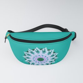 Spring Snowfall on a Pixelated Green Knit Sweater Fanny Pack