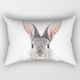 Baby Rabbit, Grey Bunny, Baby Animals Art Print By Synplus Rectangular Pillow