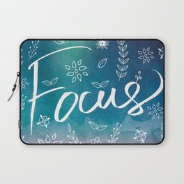 Blue Teal Purple Focus Meditation Spirituality Sucess Typography Floral Illustrations Quote Art Laptop Sleeve
