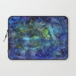 Space Galaxy Blue Green Watercolor Nebula Painting Laptop Sleeve