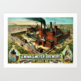 Vintage 1882 Julius Winkelmeyer Brewery St. Louis Lithograph Wall Art Advertisement Art Print Art Print