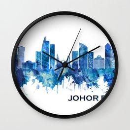 Johor Bahru Malaysia Skyline Blue Wall Clock