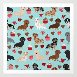 Dachsund dachsie doxie valentines day valentine hearts love cupcakes cute dog gifts Art Print