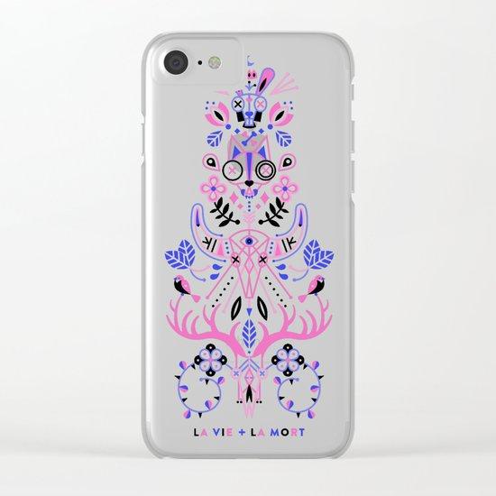 La Vie & La Mort – Pink & Periwinkle on Black Clear iPhone Case