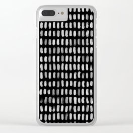 Minimalist White Brush Strokes Clear iPhone Case