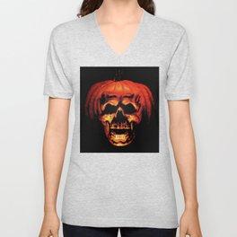 Halloween II Pumpkin Skull Stained Glass Unisex V-Neck
