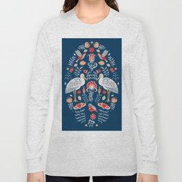 Storks, Birds and flowers. Oval decorative ornament. Folk art. Long Sleeve T-shirt